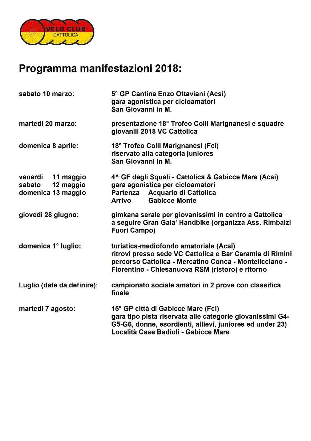 programma manifestazioni 2018