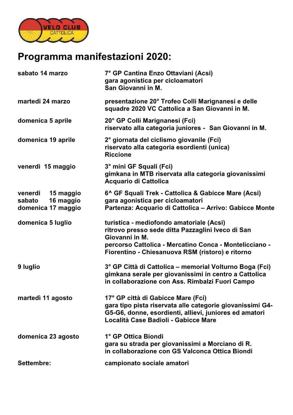 programma manifestazioni 20201